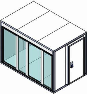 Камера холодильная со стеклом Полаир КХН-7,71 (Стеклянный блок по стороне 2260мм, дверной блок по смежной стороне)