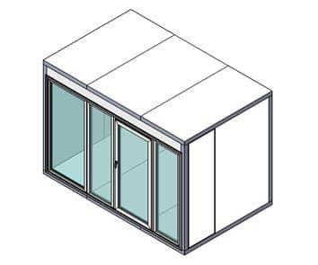 Камера холодильная со стеклом Полаир КХН-8,81 (Стеклянный блок по стороне 2560 мм, дверь универсальная по смежной стороне)