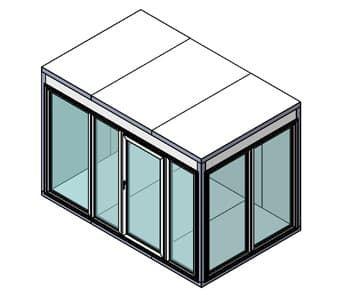 Камера холодильная со стеклом Поалир КХН-8,81 (Стеклянный блок по двум смежным сторонам, дверь стеклянная одностворчатая по стороне 2560 мм)