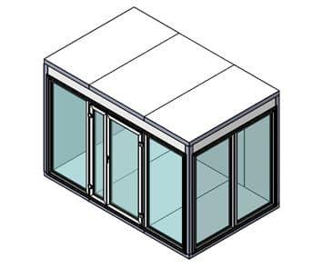 Камера холодильная со стеклом КХН-6,61 (Стеклянный блок по двум смежным сторонам, дверь стеклянная одностворчатая по стороне 1960 мм)